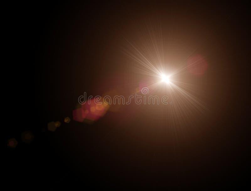 As luzes e protagonizam na noite Efeito da refração da lente Estrelas no céu ilustração royalty free