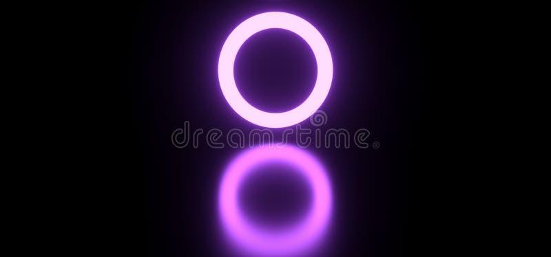 As luzes roxas de néon futuristas modernas circundam do corredor escuro reflexivo liso da sala do túnel da textura da tecnologia  ilustração stock