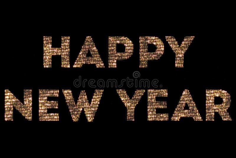 As luzes sparkly do brilho do ouro amarelo do vintage e o efeito de incandescência que simulam o ano novo feliz 2018 do diodo emi foto de stock royalty free