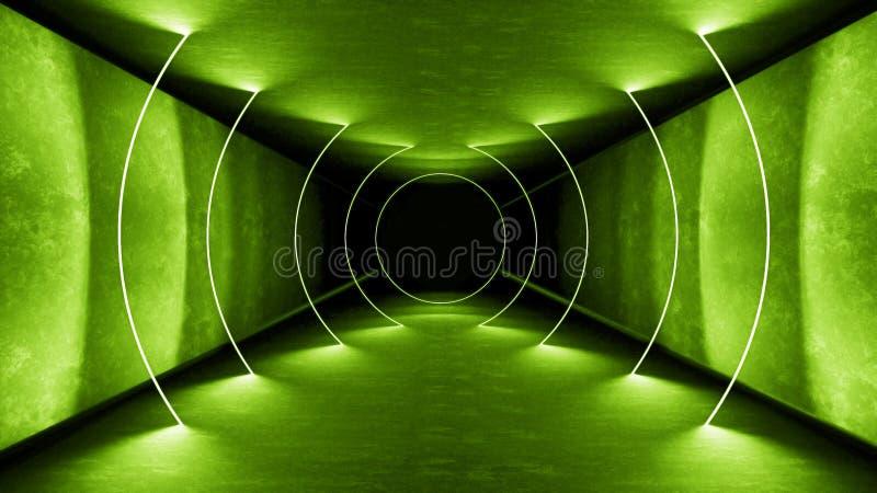As luzes verdes interiores 3d do clube noturno rendem para a mostra do laser Linhas verdes de incandescência Fundo verde fluoresc imagens de stock royalty free