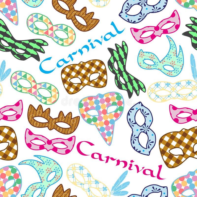 As máscaras coloridas do teste padrão de rio do carnaval projetam o teste padrão sem emenda ilustração do vetor