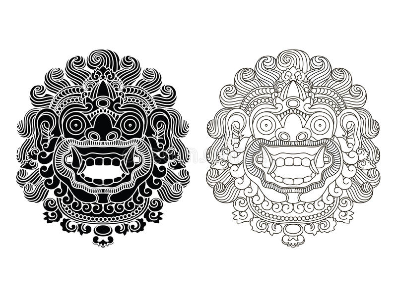 As máscaras do deus mitológico Estilo do Balinese Barong foto de stock royalty free