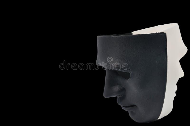 As máscaras preto e branco gostam do comportamento humano, concepção fotos de stock