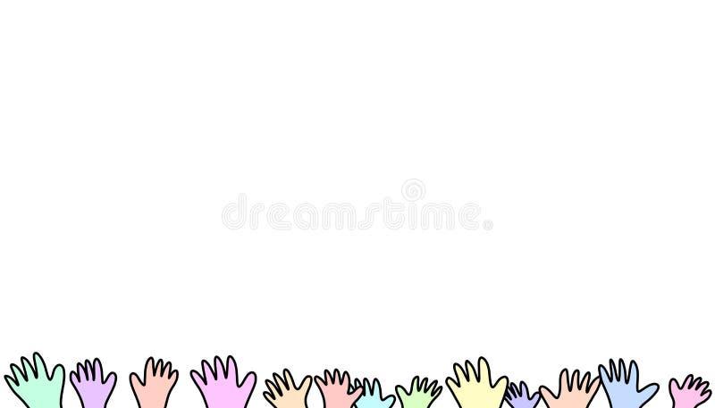 As mãos acima da diversidade feliz das crianças igualam junto livre a paz ilustração do vetor