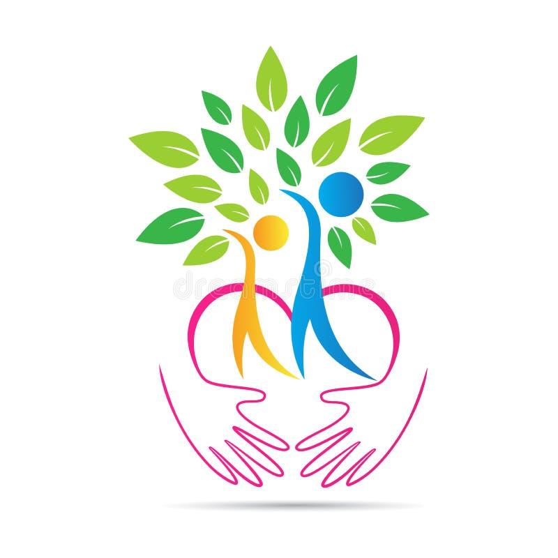 As mãos amigáveis do cuidado da natureza de Eco amam o logotipo da árvore dos pares ilustração do vetor