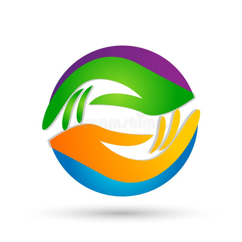 As mãos amiga importam-se projetos do vetor do ícone do logotipo do globo das mãos no fundo branco ilustração stock