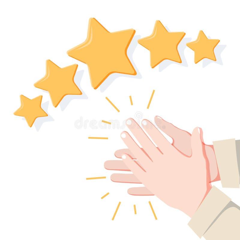 As mãos aplaudem, feedback da estrela do positivo cinco Ilustração do vetor lisa ilustração do vetor