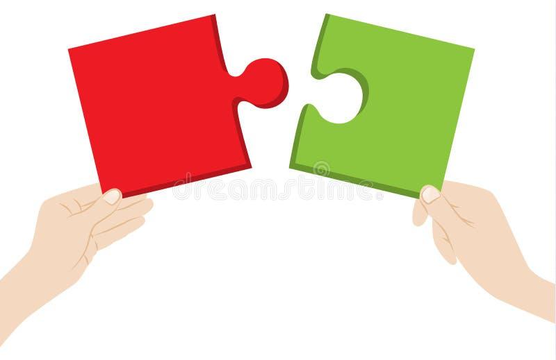 As mãos com enigma remendam o vetor ilustração do vetor