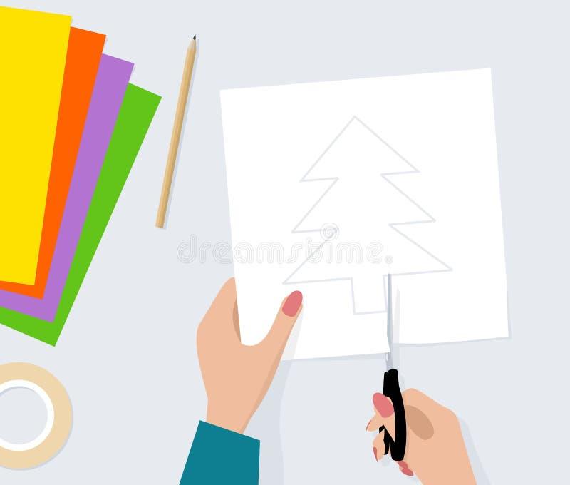 As mãos com tesouras cortaram a silhueta da árvore de abeto do papel Ilustração do vetor ilustração royalty free