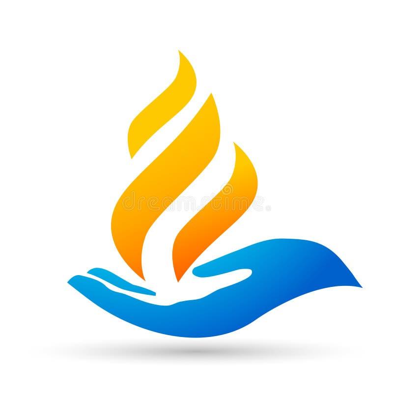 As mãos da chama importam-se a natureza do ícone do símbolo da energia do fogo do logotipo deixam cair o projeto do vetor dos ele ilustração royalty free