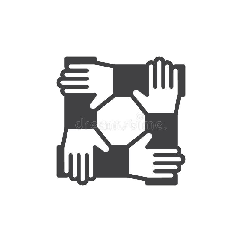 As mãos da cooperação, vetor do ícone dos trabalhos de equipa, encheram o sinal liso, pictograma contínuo isolado no branco Símbo ilustração stock