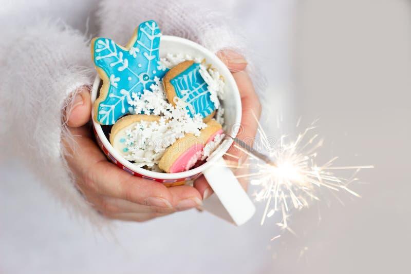 As mãos da mulher bonita que guardam um copo com as cookies do inverno/Natal; fundo do inverno com espaço da cópia fotografia de stock royalty free