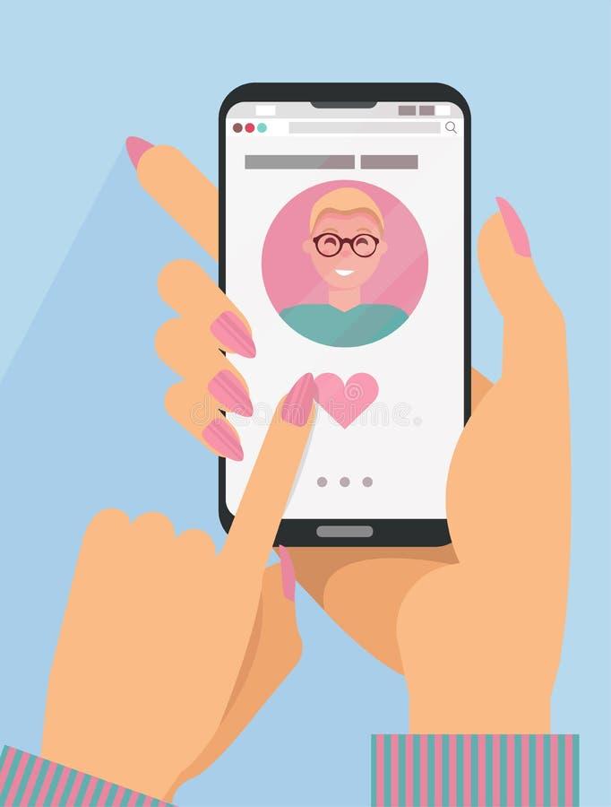 As mãos da mulher que guardam o smartphone com o homem louro bonito com os monóculos na tela Conceito datando em linha O dedo emp ilustração do vetor