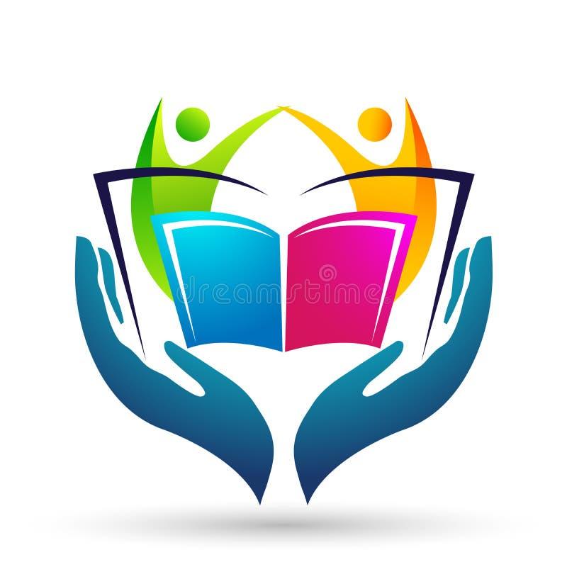 As mãos das crianças das crianças do logotipo da educação do mundo do globo importam-se o ícone das crianças dos livros de escola ilustração royalty free