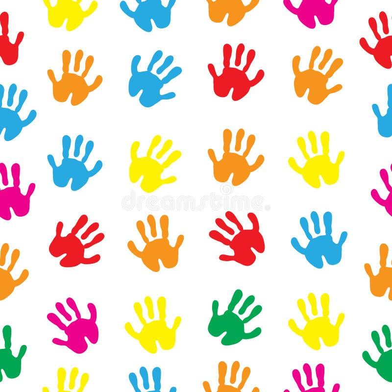 As mãos das crianças s, mão imprimem a textura sem emenda Papel de parede do fundo das palmas das crianças s Ilustração do vetor ilustração royalty free