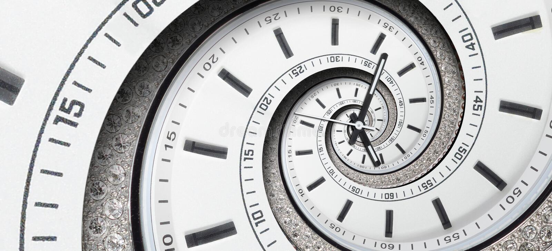 As mãos de pulso de disparo brancas do relógio de pulso de disparo do diamante moderno torceram à espiral surreal Fractal espiral fotos de stock