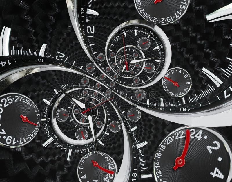 As mãos de pulso de disparo vermelhas pretas de prata modernas do relógio de pulso de disparo da forma torceram à espiral surreal imagem de stock royalty free