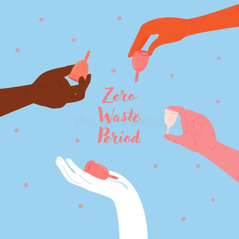 As mãos diversas guardam copos menstruais empowerment ilustração royalty free