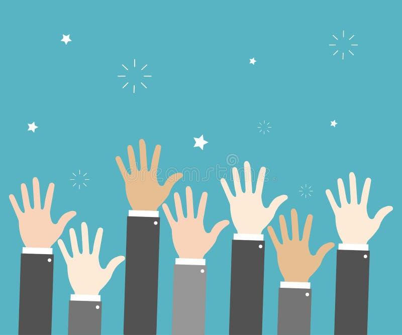 As mãos do aumento entregam gesticular o fundo azul votar Ilustração do vetor ilustração do vetor