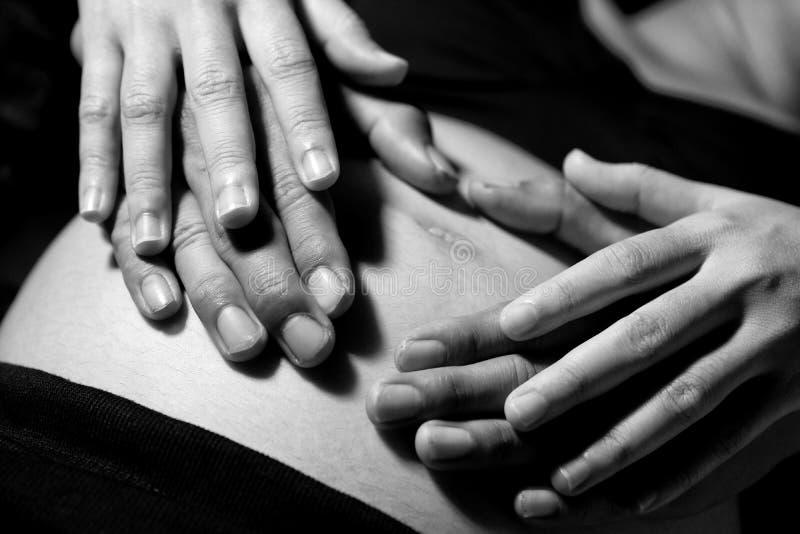 As mãos do coração do pai e da mãe deram forma, terra arrendada da mulher gravida fotos de stock