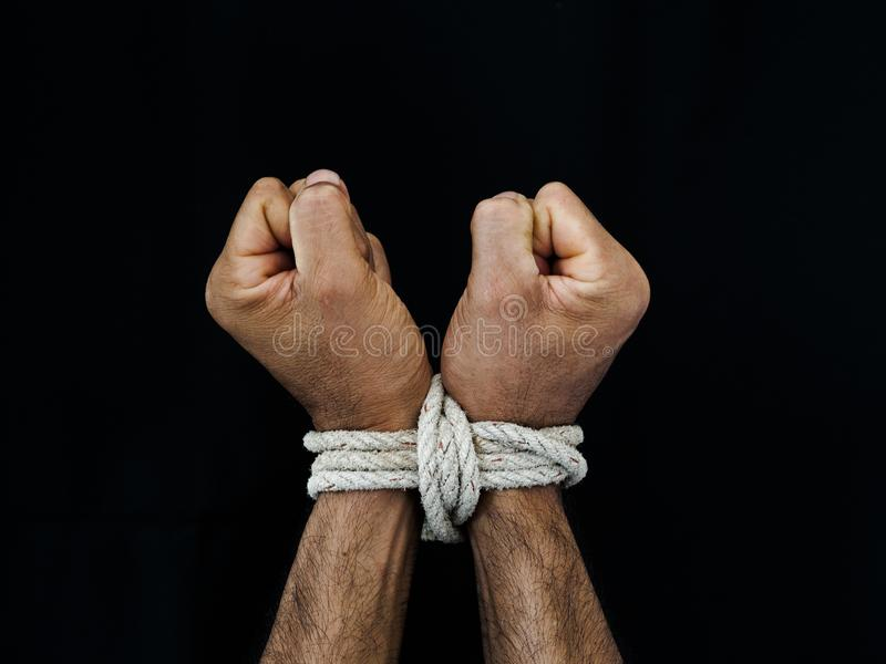 As mãos do homem foram amarradas com uma corda Violência, terrificada, ser humano Righ imagem de stock royalty free