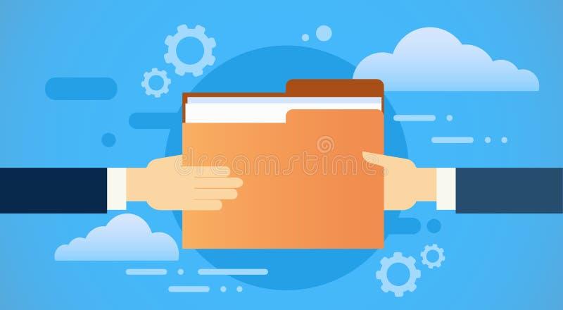 As mãos do negócio dão papéis do original do dobrador, base de dados da nuvem da informação da parte ilustração stock