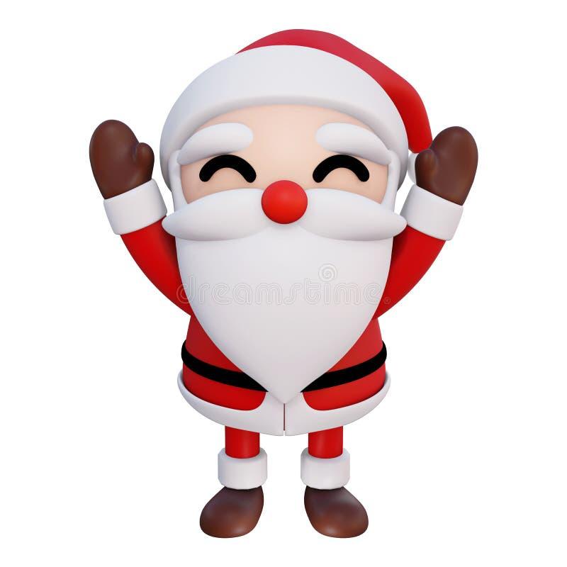 As mãos dos desenhos animados 2 de Santa Claus 3d acima e os olhos sorriem a parte dianteira angle2 ilustração do vetor