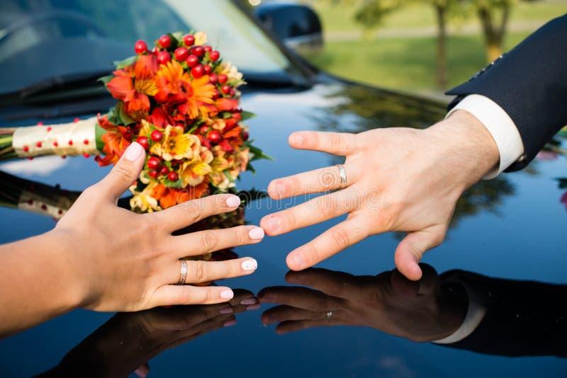 As mãos dos recém-casados com anéis fecham-se acima Conceito do casamento Selecti imagem de stock