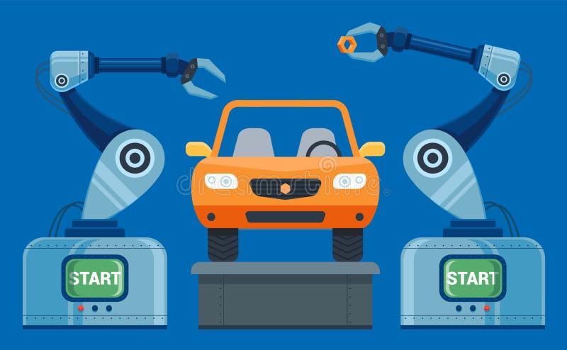 As mãos dos robôs recolhem no carro do transporte ilustração stock