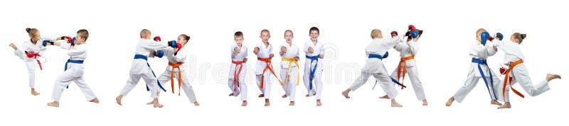 As mãos dos sopros estão treinando as crianças na colagem do karategi imagem de stock royalty free