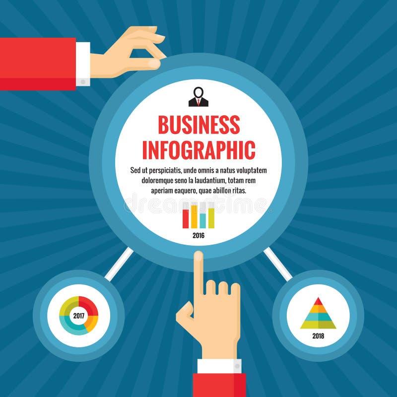 As mãos e os círculos humanos com infographic - conceito infographic do negócio - vector a ilustração do conceito ilustração do vetor