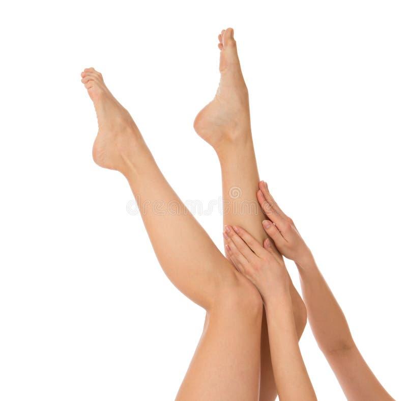 As mãos e os pés bonitos da mulher com francês manicured os pregos isolados em um fundo branco fotografia de stock royalty free