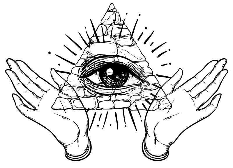 As mãos fêmeas abrem em torno do símbolo maçônico Ordem mundial novo Mão-d ilustração stock