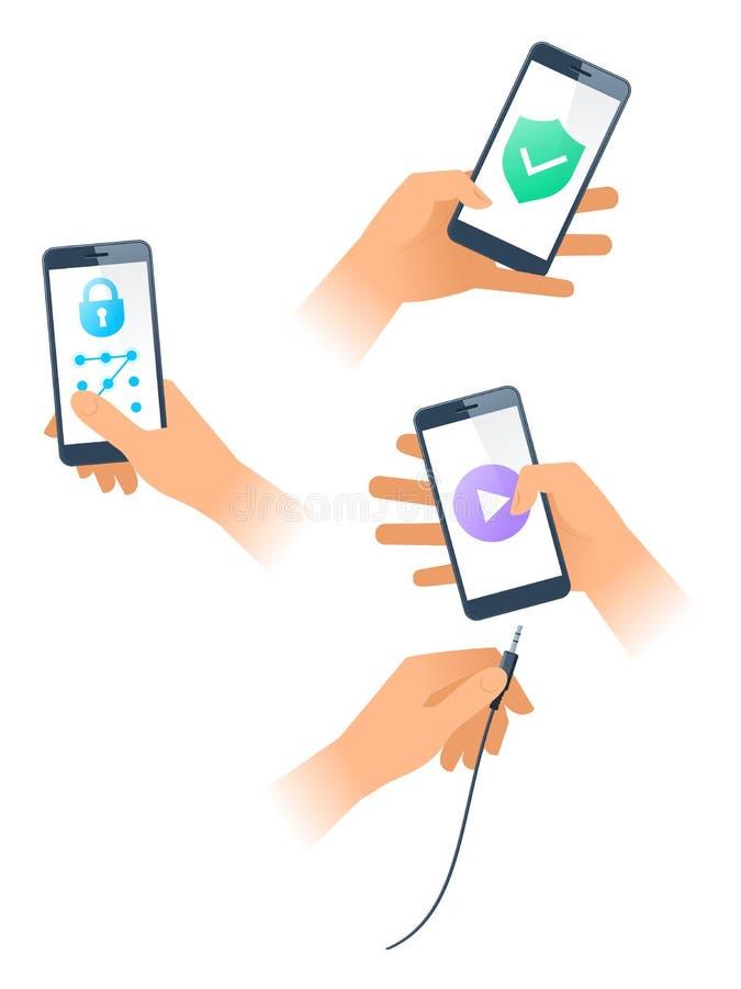 As mãos fêmeas e masculinas usam apps nos smartphones Ilustração lisa do vetor ilustração do vetor