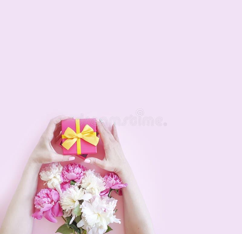 As mãos fêmeas guardam uma caixa de presente da flor da peônia em um fundo colorido fotos de stock royalty free
