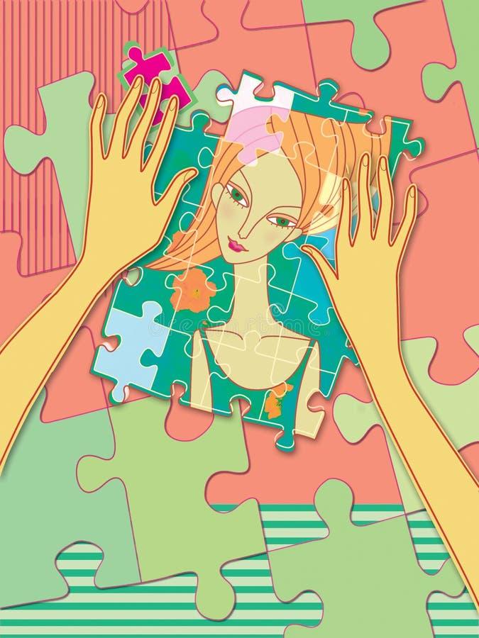 As mãos fêmeas recolhem o enigma com um retrato de uma menina psychology Jogos de mente ilustração do vetor