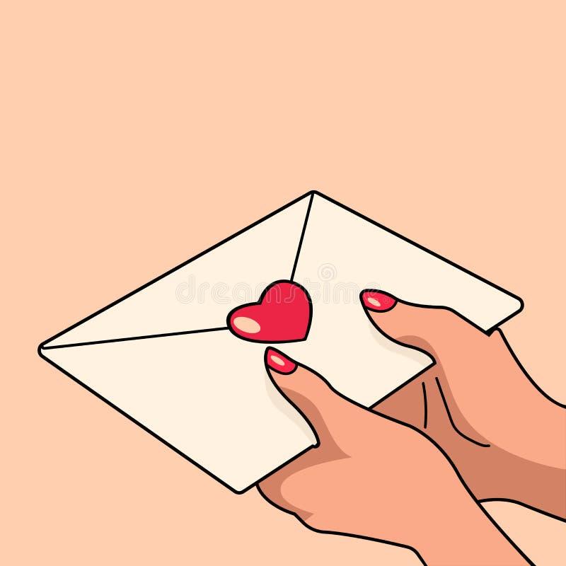 As mãos guardam a carta de amor em claro - fundo cor-de-rosa ilustração stock