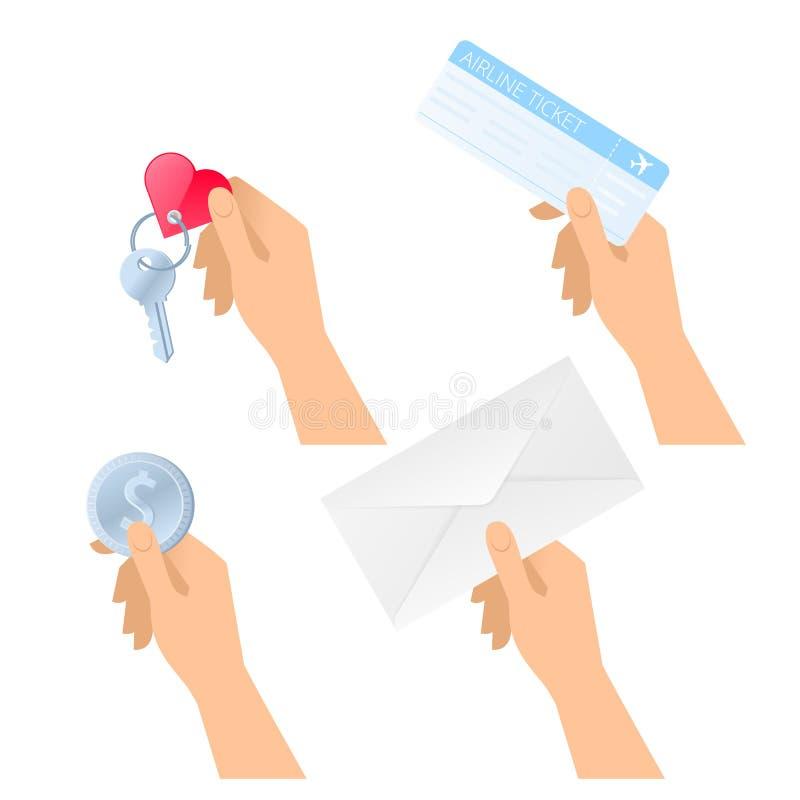As mãos guardam o bilhete plano, envelope de papel, moeda do dólar, chave de sala ilustração royalty free