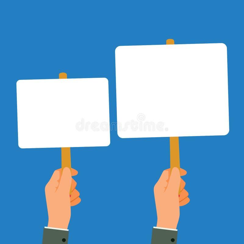 As m?os guardam uma ilustra??o do vetor das mensagens da placa da placa ilustração royalty free