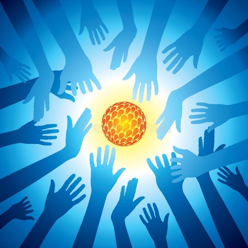 As mãos guardaram o grupo de ideia do bulbo, energia da salvaguarda ilustração royalty free