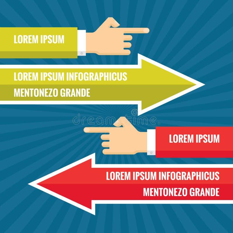 As mãos humanas com as setas vermelhas e verdes - conceito infographic do negócio - vector a ilustração do conceito no projeto li ilustração royalty free