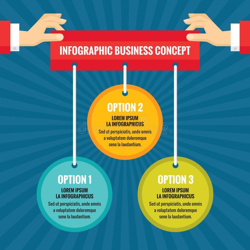 As mãos humanas com círculos coloridos - conceito infographic do negócio - vector a ilustração do conceito no projeto liso do est ilustração do vetor