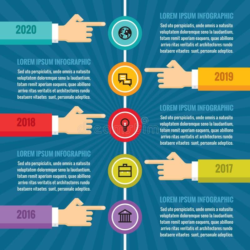 As mãos humanas com o espaço temporal vertical - conceito infographic do negócio - vector a ilustração do conceito ilustração do vetor