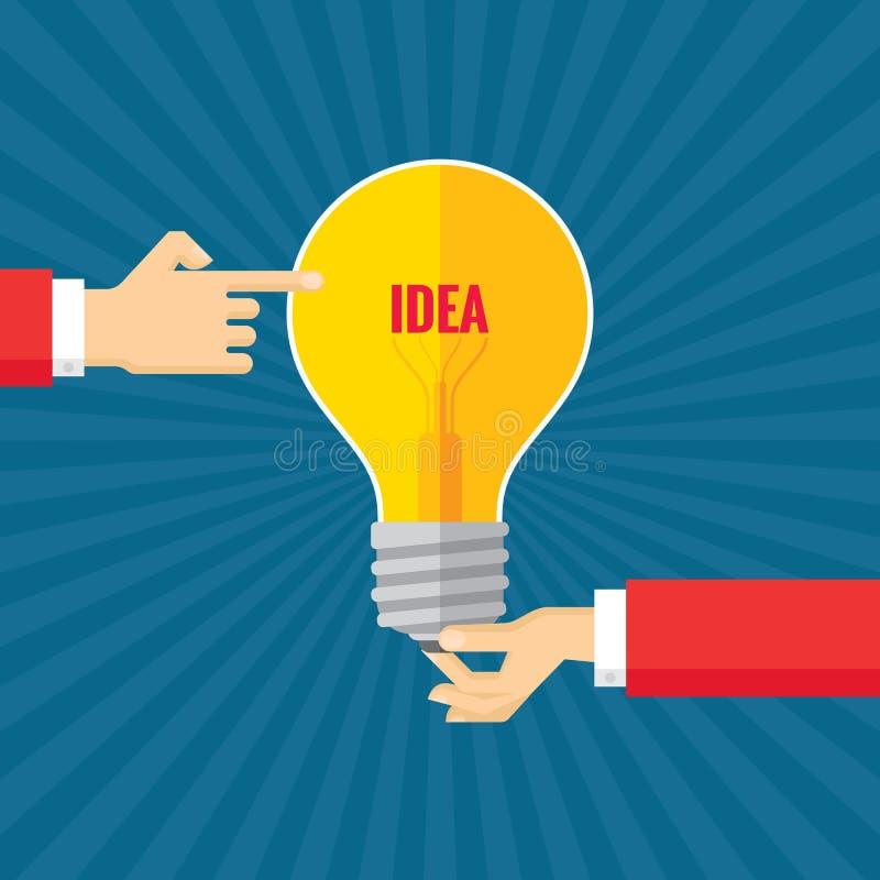 As mãos humanas e a ampola - geração criativa da ideia - vector a ilustração do conceito no projeto liso do estilo ilustração royalty free