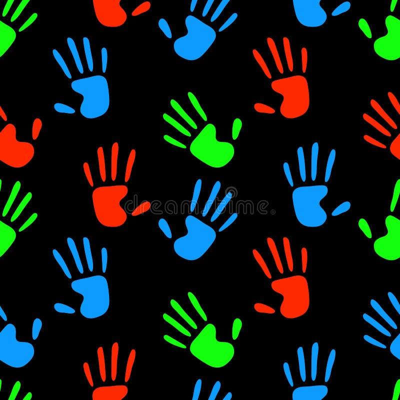 As mãos humanas fluorescentes coloridas imprimem no teste padrão sem emenda preto, vetor ilustração royalty free