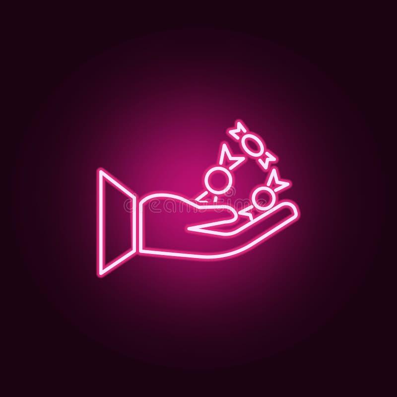 As mãos humanas guardam o ícone de néon do Dia das Bruxas dos doces r ?cone simples para Web site, design web, app m?vel, informa ilustração royalty free