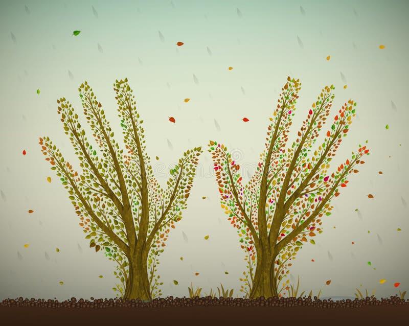 As mãos humanas olham como árvores do outono com em solo e esticando ao sol, ajude o conceito da árvore, salvar a ideia da flores ilustração royalty free