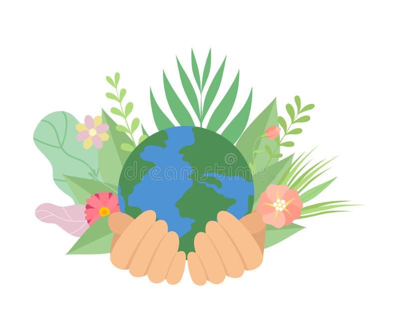 As mãos humanas que guardam o planeta da terra, salvar o planeta, proteção ambiental, ilustração do vetor do conceito da ecologia ilustração do vetor