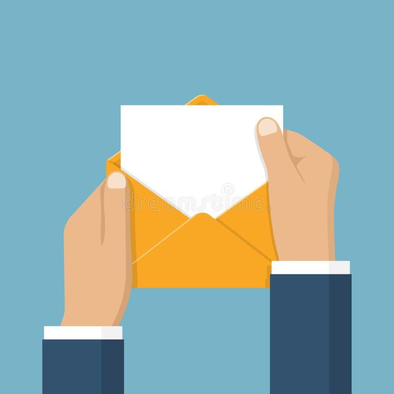 As mãos isoladas abrem o envelope ilustração do vetor