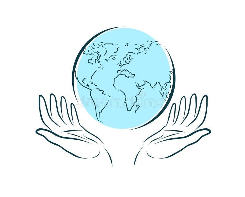 As mãos mantêm com cuidado o globo Mundo, curso, logotipo da ecologia Ilustração do vetor ilustração stock